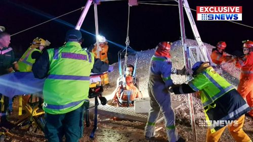 The 22-year-old had to be winched from the shaft. Picture: 9NEWS