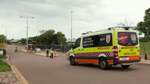 Ambulances arrive at the quarantine site after more confirmed cases of COVID-19 emerge.