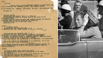 """This Nov. 22, 1963, file photo shows an Associated Press """"A"""" wire copy edited for the teletypesetter circuit, reporting on the assignation of President John F. Kennedy in Dallas."""