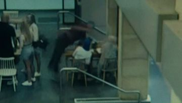 CCTV of the attack at the cafe.