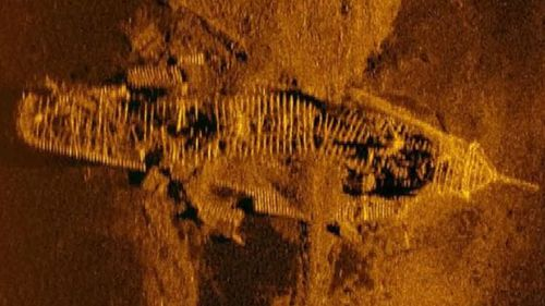 Sonar image of wreck found on ocean seabed. (Photo: ATSB).