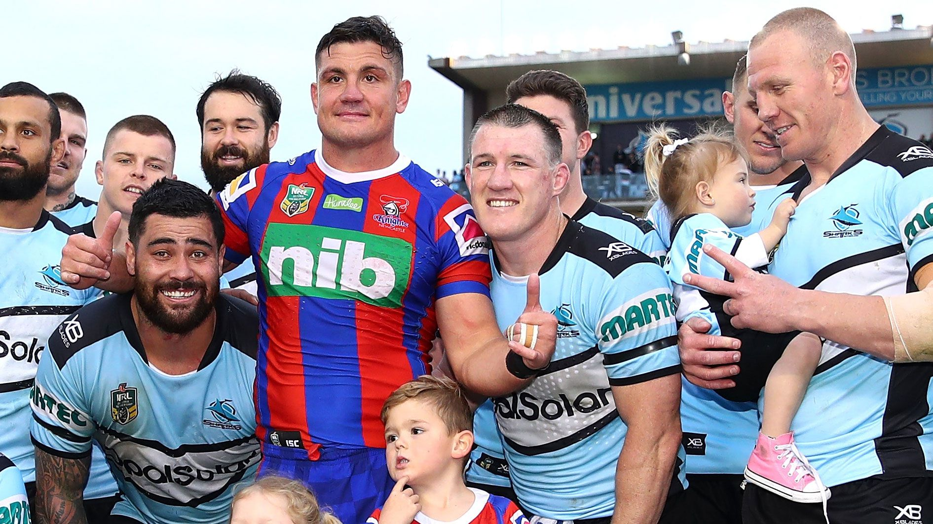 Paul Gallen poses with former Sharks teammate Chris Heighington.