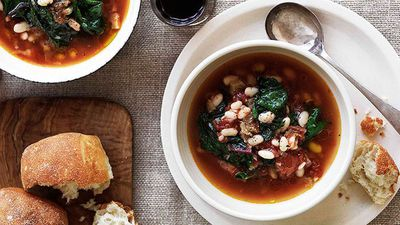 White bean and rainbow silverbeet soup