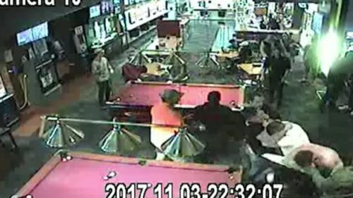 Security cameras captured the brawl at the Lara Hotel on November 3 last year. (Supplied)