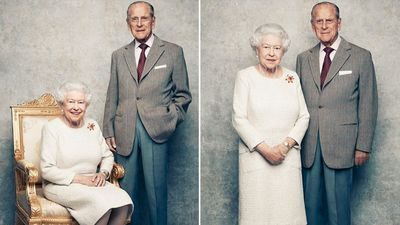 Kate Middleton, Prince William and Prince Harry celebrate the Queen and Prince Philip's 70th anniversary