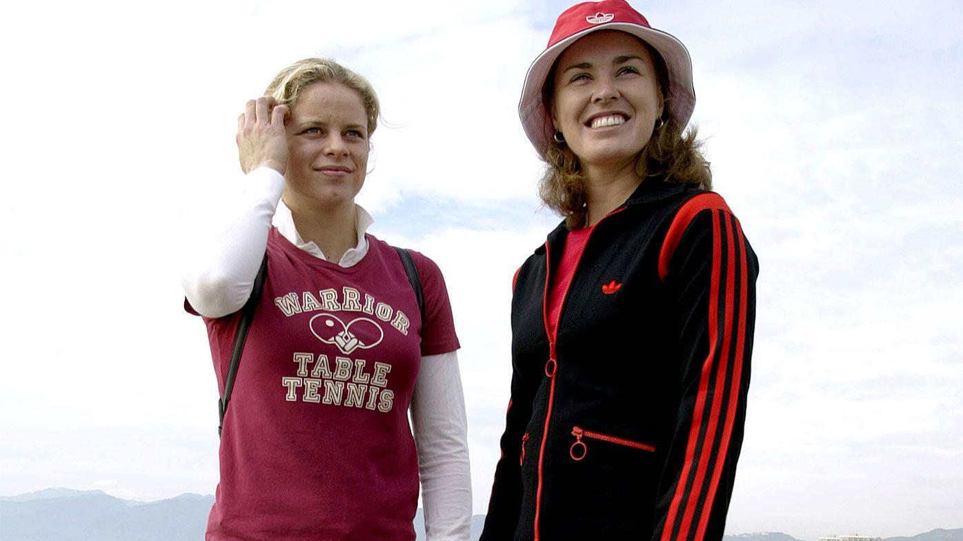 Kim Clijsters and Martina Hingis on November 8, 2003 in Santa Monica, California