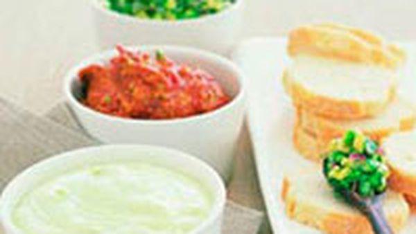 Avocado dip trio served with crusty bread
