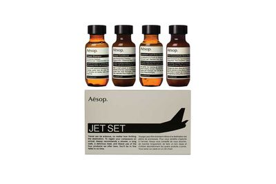 "<strong>Aesop <a href=""http://www.aesop.com/au/jet-set-kit.html"">Jet Set toiletries kit</a>, $41</strong>"