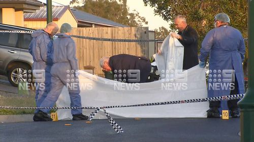 Crime scene where a man was shot by police near Brisbane overnight. August 27, 2020.