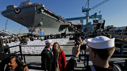 A file photo from 2013 of the naming of the USS Gerald Ford - one of the world's most advanced aircraft carriers.