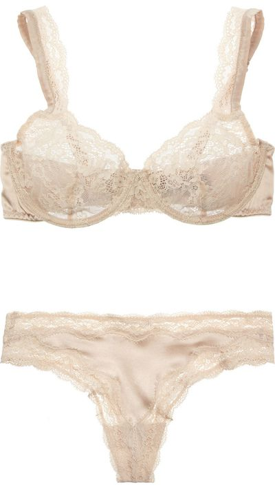"<p><a href=""http://www.net-a-porter.com/au/en/product/326867"">Clara Whispering Stretch-Lace Underwired Bra, $138.76</a>, and <a href=""http://www.net-a-porter.com/au/en/product/503978"" target=""_blank"">Clara Whispering Lace-Trimmed Stretch-Silk Thong, $69.38</a>, Stella McCartney</p>"