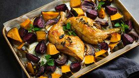 Roast chicken with winter vegetables
