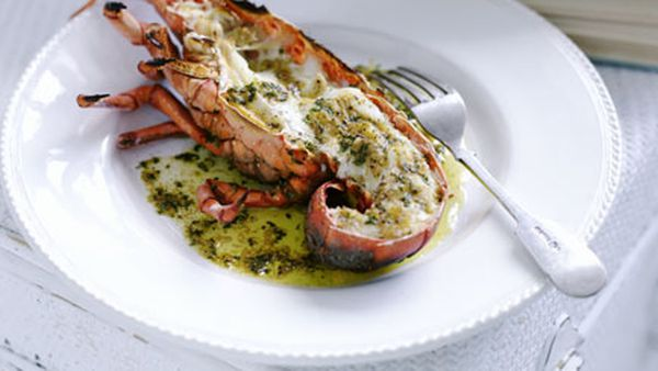 Grilled lobster with mustard and burnt butter
