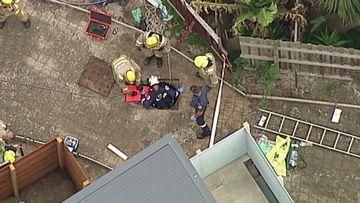A teenager has fallen metres into a sew drain.