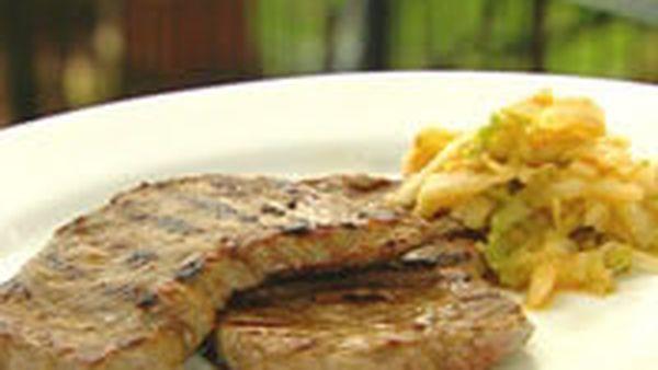 Korean minute steaks and kimchi
