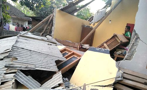 The destruction left behind by the earthquake near Mataram. Picture: AAP
