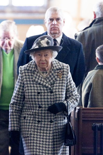 The Queen and Prince Andrew arrive for church at St Mary the Virgin at Hillington in Sandringham on January 19, 2020.
