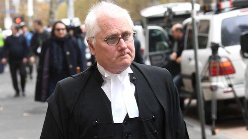 Bret Walker leaves the Supreme Court of Victoria in Melbourne.
