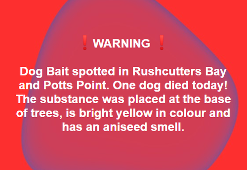 Facebook page Potts Point Puppies has posted a warning online for dog owners in the area to be cautious when walking their dogs around Rushcutters Bay Park.