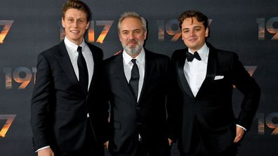 "Director Sam Mendes and two lead actors George Mackay and Dean-Charles Chapman attend the ""1917"" World Premiere and Royal Performance at the Odeon Luxe Leicester Square on December 04, 2019"
