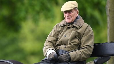 Britain's Prince Philip, the Duke of Edinburgh sits on a carriage during the Royal Windsor Horse Show, in Windsor, Britain, 09 May 2019.