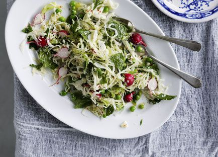 Cabbage, pea, mint, chilli and parmesan salad