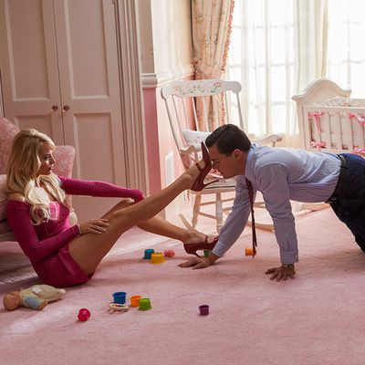 <p>Leonardo DiCaprio and Margot Robbie in <em>The Wolf of Wall Street&nbsp;</em></p><p><em></em><strong>Age gap:</strong> 15 years, 8 months</p>