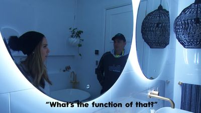 """""""I was actually blown away, the quality, the finishings, the bath,"""" Ronnie said of Sarah and Jason's bathroom, but Georgia had concerns over the purpose of their high-tech lights."""