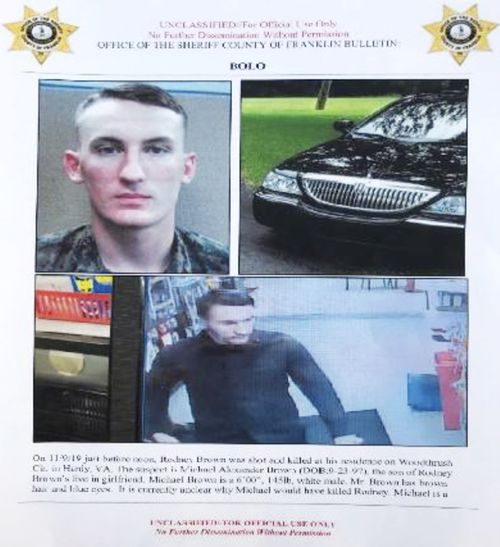 A Franklin County Sheriff's Office poster about US Marine Michael Alexander Brown. In mid-November Roanoke Police Chief Tim Jones warned people to lock their doors after spotting a vehicle linked to Brown, a Marine deserter wanted for questioning in a murder case.