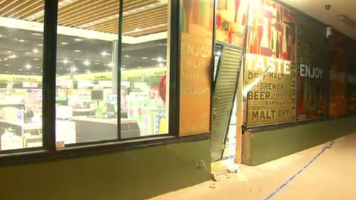 A Dan Murphy's was also targeted in the string of ram raids overnight. (9NEWS)