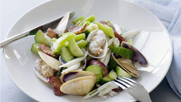 Sauteed cuttlefish, chorizo and cucumber