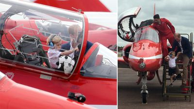 Prince William helped his son in and out of the aircraft.