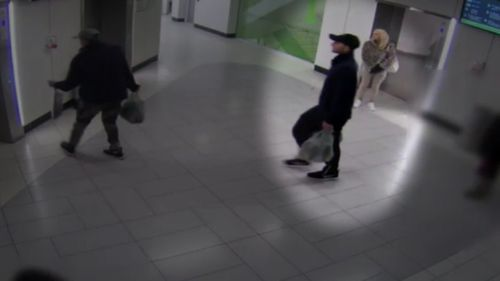 CCTV shows Esmaili in the foyer of Box Hill Hospital in May last year.