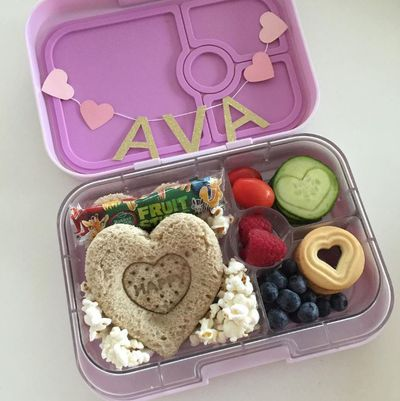 "Style blogger <a href=""http://www.absoluteamy.com/about/"" target=""_blank"">Amy Zempilas</a> makes adorable lunches for her girls, Ava and Chloe. This one was for Valentine's Day - and even has bunting!"