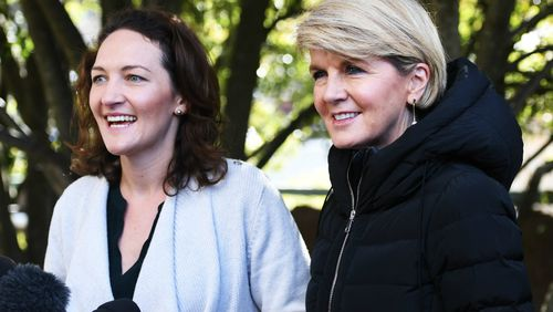 Foreign Minister Julie Bishop and Mayo candidate Georgina Downer speak to media. Picture: AAP