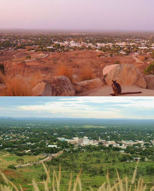 A before and after comparison of Charters Towers reveals the dramatic transformation triggered by recent rains. (Facebook/Craig Collins)