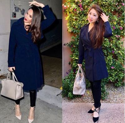 Channelling Meghan Markle in a navy coat