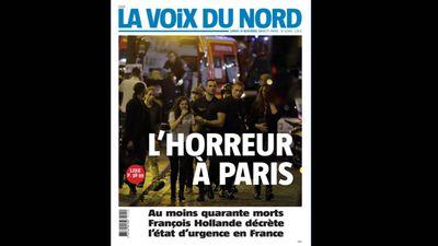 French newspaper <em>La Voix Du Nord </em>ran 'Horror in Paris'.