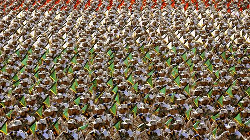 Members of the Iran's Revolutionary Guard march during an annual military parade.