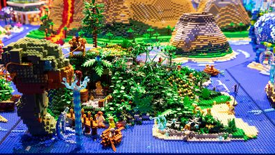 Annie and Runa's turtle Island from the 'a whole new world' challenge on LEGO Masters Australia Season 2.