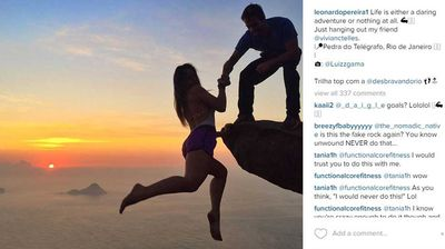"""<p _tmplitem=""""1"""">This Brazilian couple's death-defying photo series dangling over an almost one kilometre drop will make your heart stop.</p><p _tmplitem=""""1""""> Self-confessed adrenaline junkies Leonardo Pereira, 23, and Victoria Nader, 18, scaled Pedra de Gavea in Rio de Janeiro – the site of one of their very first dates – to capture the romantic images.</p><p _tmplitem=""""1""""> The pair took it in turns to perch over Pedra de Gavea's 844m-high cliff as a mystery friend took snaps of them.</p><p _tmplitem=""""1""""> In one photo, Ms Nader demonstrates her trust in Mr Pereira, hanging completely over the edge holding only her boyfriend's hand.</p><p _tmplitem=""""1""""> While in another, their roles are reversed as Mr Pereira hangs off the rock and his beaming girlfriend smiles from above. </p><p _tmplitem=""""1""""> Their photos have received countless likes on their Instagram pages, which they regularly update with envy-inducing snaps from around the world. <i>All images Instagram/@leonardopereira1/@victorianader1</i></p>"""