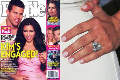 Kris went down on bended knee with serious bling: a $2 million 20.5-carat Lorrain Scwhartz diamond sparkler. Talk about chunky!<br/><br/>Kris Humphries ended up auctioning Kim's engagement ring for $749,000 grand after their divorce...<br/><br/>Images: Splash