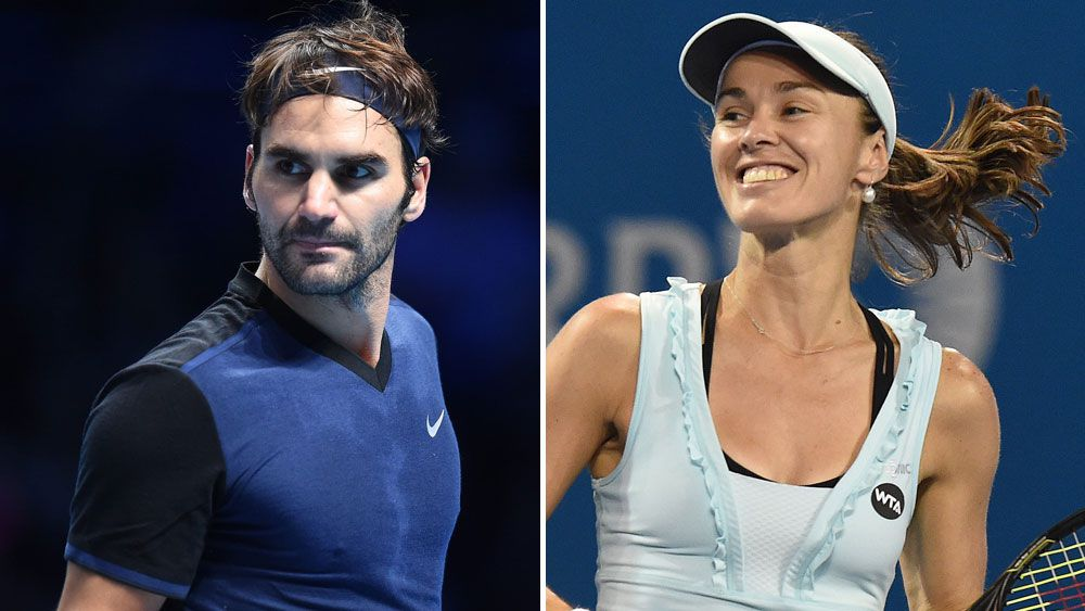 Roger Federer and Martina Hingis (Getty and AAP)