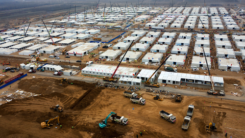 An aerial view of the construction site of the quarantine camp in Shijiazhuang, Hebei, China, on January 19.