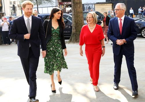 Prince Harry and Meghan Markle arrive to attend a reception hosted by then Australian Prime Minister Malcolm Turnbull and his wife Lucy at the Australian High Commission in London. (AAP)