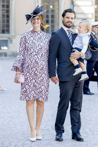 Prince Carl Philip of Sweden and Princess Sofia of Sweden with their son and Prince Alexander at a thanksgiving service in Stockholm, Sweden, July, 2017