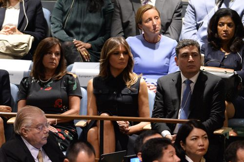 The First Lady, Melania Trump, watches her husband's speech in New York.