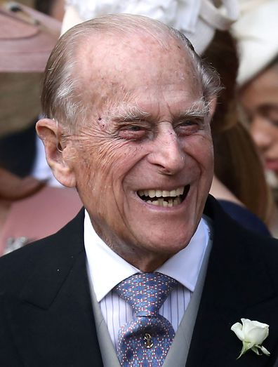 The Duke of Edinburgh at the wedding of Lady Gabriella Windsor and Thomas Kingston at St George's Chapel in Windsor Castle.