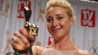 Asher Keddie after winning the Gold Logie for Most Popular Personality on Australian Television at the 2013 Logie Awards