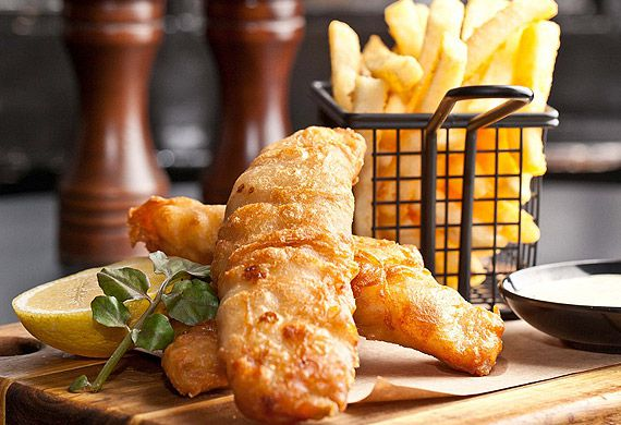James Squire-battered fish and chips